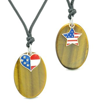Proud American Flag Super Cute Heart and Star Love Couples BFF Set Tiger Eye Amulet Cord Necklaces
