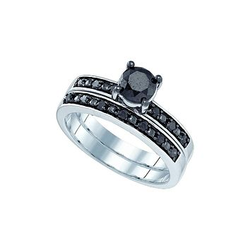 10kt White Gold Womens Round Black Colored Diamond Bridal Wedding Engagement Ring Band Set 1.00 Cttw