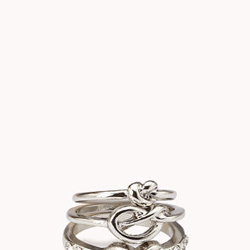 FOREVER 21 Knotted Midi Ring Set Silver/Clear 6