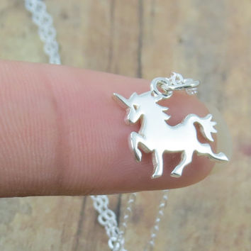 Unicorn Necklace, always be a unicorn, small and tiny sterling silver unicorn charm on chain