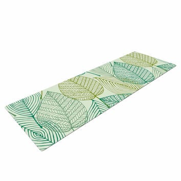"KESS Original ""Make Like A Tree"" Green Pattern Yoga Mat"