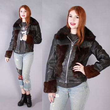 Vintage 70s Leather Jacket / 1970s Custom Made Rabbit Fur Black Leather Jacket