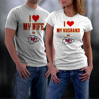 Chiefs,Kansas City Chiefs Couples Shirt,  Chiefs Matching Couples tshirts,I love my Husband/Wife and the Chiefs Shirt,Wedding T Shirts