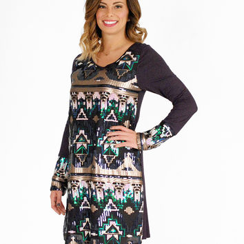 Navy Tribal Sequins Dress