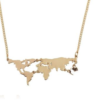 World Map Pendants Necklace For Women