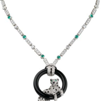 Panthère de Cartier necklace: Necklace - 950‰ platinum, 18K white gold, 14 emeralds, 537 brilliant-cut diamonds totaling 11.69 carats, onyx.