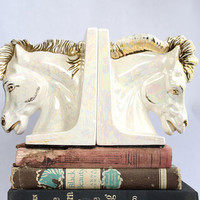Vintage Horse Head Bookends, Iridescent White & Gold | Office Student Teacher Gift Equestrian Shimmer Modern