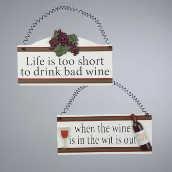 Christmas Ornament - Plaque With Wine Glass And Bottle