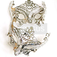 Silver Mask base (1 Mask) Metallic Silver Lace Filigree Pattern Venetian Mask  - Masquerade ball costume or elven wedding
