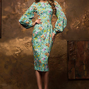 Floral sheath dress, mint midi dress, knee length bodycon dress, spring summer dress, exclusive dress, puff sleeve dress, pencil dress 2016