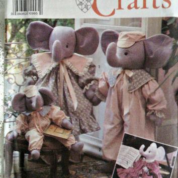 Elephant Sewing Pattern Stuffed Toy Elephants in 2 sizes Simplicity 7140 Old Fashioned Victorian Elephant Family  by Faith Van Zanten