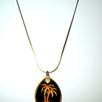 Vintage Black Art Glass & Gold Palm Trees Necklace