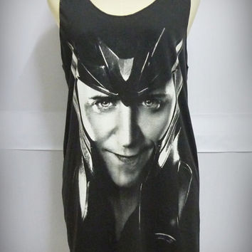 Loki the avengers movie Tom Hiddleston actor Black Long Tank top dress Women Teen size M medium singlet tunic shirt blouse sleeveless