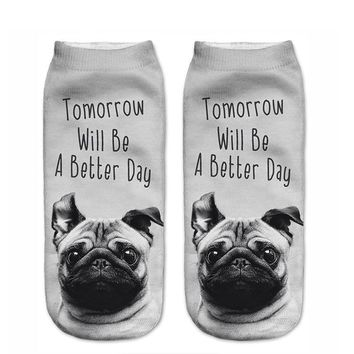 Pug Tomorrow Will Be A Better Day - Ankle Length Socks Funny Crazy Cool Novelty Cute Fun Funky Colorful