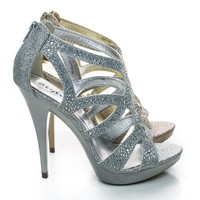 Abyss Rhinestone Sparkling Cut Out Strappy Stiletto Dress Sandals