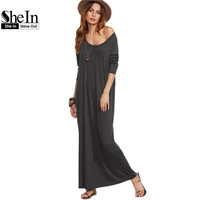 SheIn Ladies Casual Long Dress Womens Clothing Autumn Long Sleeve Maxi Dress Heather Grey Scoop Neck T-shirt Dress