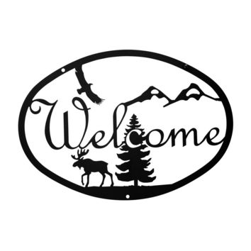 Wrought Iron Medium Moose & Eagle Welcome Home Sign Medium