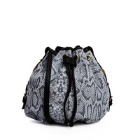 River Island Grey Snake Print Leather Duffle Bag at asos.com