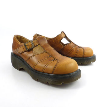 Dr Martens Shoes Mary Janes 1990 Doc Mustard Brown Leather Made in England UK size 4 US size 6