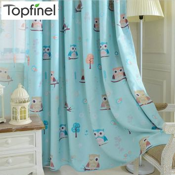 2015 cartoon owl shade blinds finished window blackout curtains for children kids bedroom windows treatments fabric