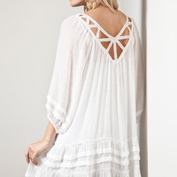 Ruffled Cover Up - White