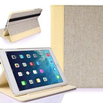 SUPCASE New Apple iPad Mini with Retina Display (2nd Generation) Slim Hard Shell Premium Textile/Leather Case - Creamy White, Support Auto Wake/Sleep (Smart Cover Function), Multi-Angle Viewing, Not Fit iPad Mini 1st Gen/iPad 2/3/4/Air