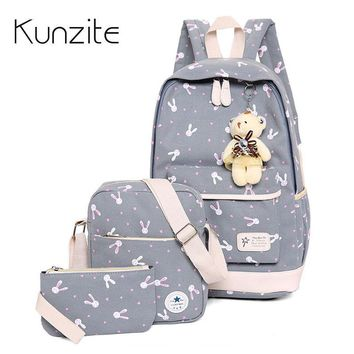 2017 Women Canvas Backpack Middle Student School Backpack Bag for Teenagers Cute Mochila Escolar Girls Bookbag with Bear Pendant