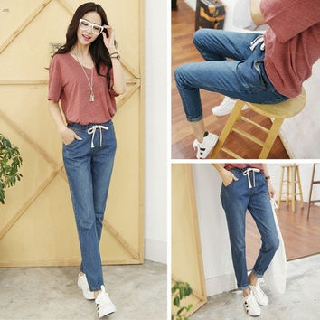 Vintage Style Summer Lightweight Women Loose Capris Boyfriend Ripped Jeans Plus Size S-6XL Casual Hip Hop Denim Pants = 1958280068