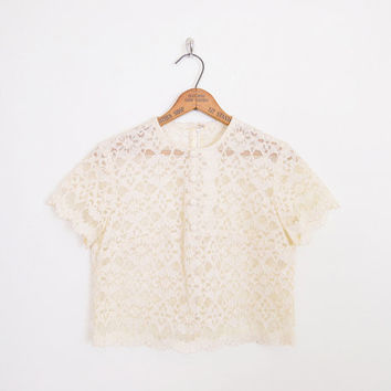ivory lace blouse, cream lace top, sheer lace blouse, 60s lace blouse, 60s lace top, 60s blouse, 60s mod blouse crop top wedding blouse s m