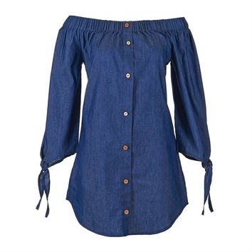 Meadow Off The Shoulder Denim Tunic by Coco + Carmen