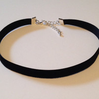 "black velvet choker plain 13"" (bigger size) necklace 90s grunge trendy style"
