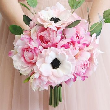 "Peony, Anemone & Eucalyptus Silk Bouquet in Two Tone Pink - 13.5"" Tall"