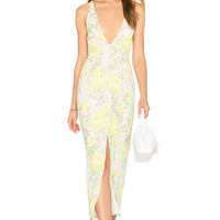 OH MY LOVE Maxi Plunge Dress in Summer Blossom