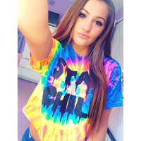 Stay Chill Tie-Dye Graphic Crop Tee