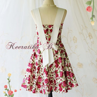 A Party Princess - Retro Vintage Inspired Floral Red Roses Dress Spring Summer Sundress Bridesmaid Dress Floral Party Tea Dress Custom Made