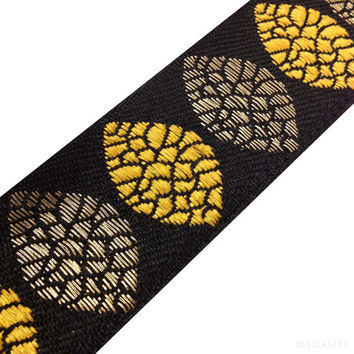 Jacquard Ribbon / Trim / Lace - Tree Pattern - Yellow, Black Gold Ribbon for Dresses, Sari  and more