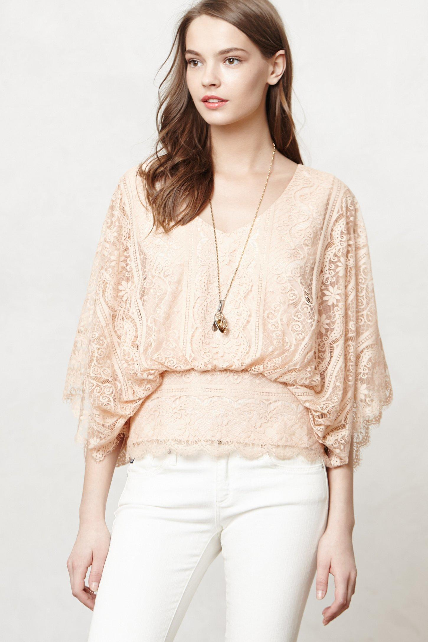 Anthropologie Blushed Lace Blouse 23