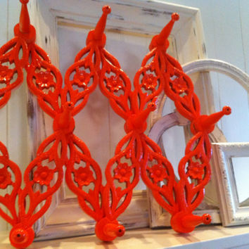 Home Decor, Wall Hanger, Painted, Upcycled, Tangerine, Expandible Hook