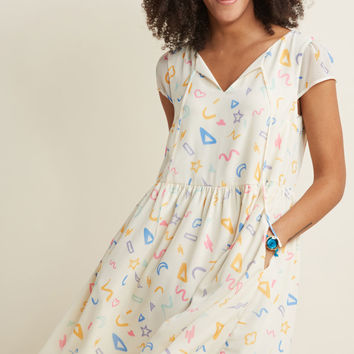 Fun With Fab On Top Easy Fit Dress in Doodle