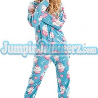 Blue Cup Cakes Hooded Adult Pajamas - Pajamas Footie PJs Onesuits One Piece Adult Pajamas - JumpinJammerz.com