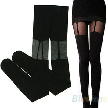 Fashion Stretchy Stockings Sweety Black Leggings Socks/w Decorated Garters Sexy = 1932779332