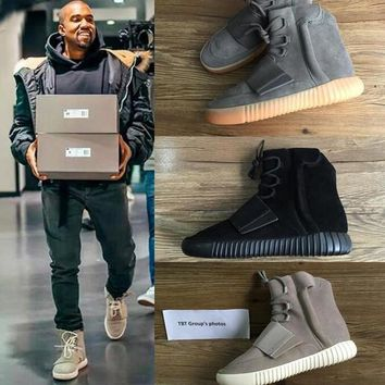 TOP 750 Boost Glow In The Dark Kanye West Leather Ankle Boots Men's Sport Running Shoe