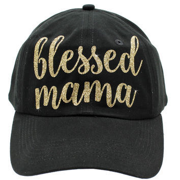 BLESSED MAMA Cap In Black/Gold