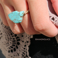 Fashion Alley Turquoise Chunky Wire Wrapped Stone Ring