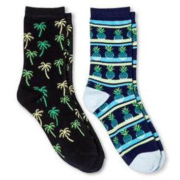 Davco Women's 2-Pack Fun Socks Pineapple Stripes/Palm Tree - Black One Size : Target
