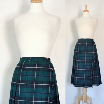 Vintage 80s Skirt / Tartan Plaid  / Green Wool Pleated Kilt / Nat Gordon / Preppy Ivy Style / Fall Winter Fashion