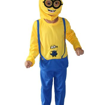 3 - 7 years Halloween Party costumeskids Long sleeve Despicable Role-playing clothing,Minion roll play Free shipping