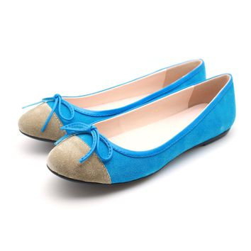 Two tone Suede Ballet Flats (Turquoise)