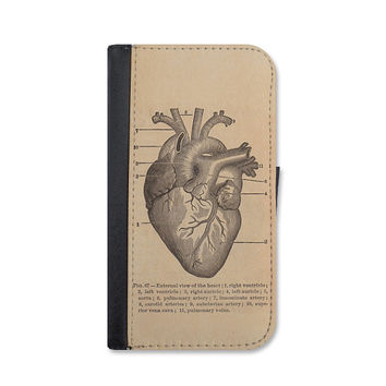 Vintage Heart Medical Illustration Wallet Case For iPhone 6