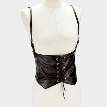 "32"" length black faux leather cinch corset belt 7"" wide suspender stretchable"